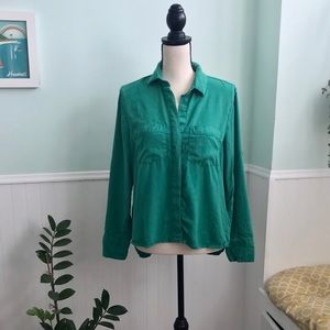 Cloth & stone relaxed button down green shirt L